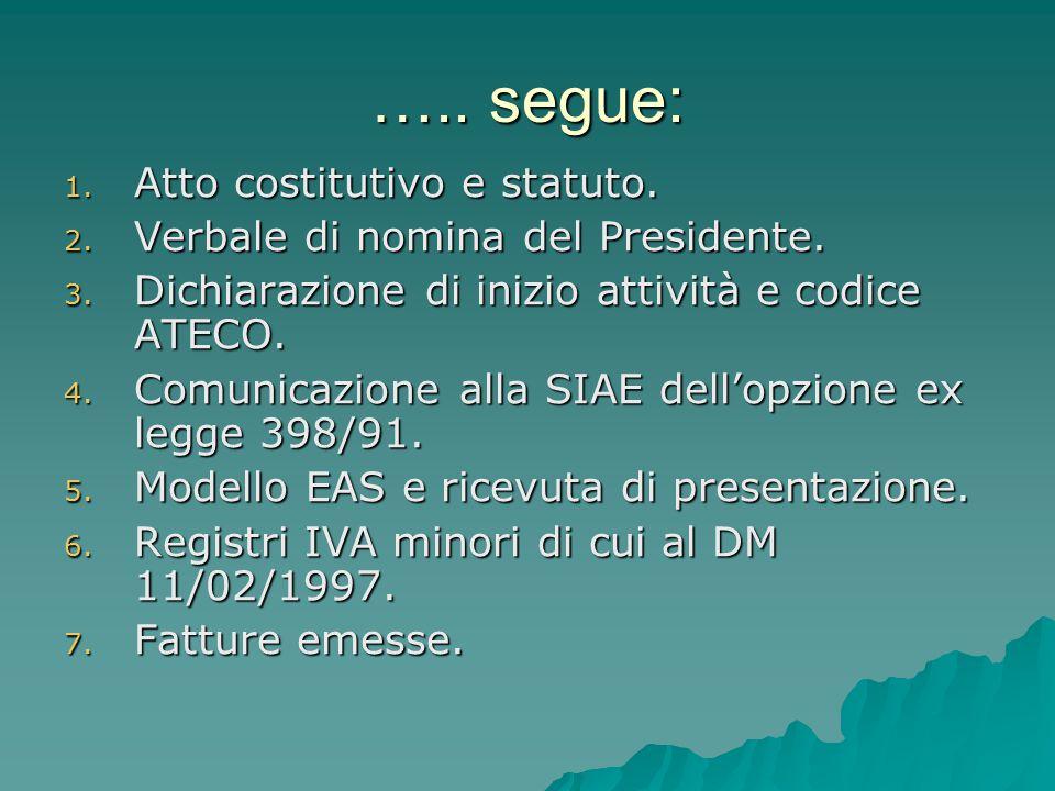 ….. segue: 1. Atto costitutivo e statuto. 2. Verbale di nomina del Presidente. 3. Dichiarazione di inizio attività e codice ATECO. 4. Comunicazione al