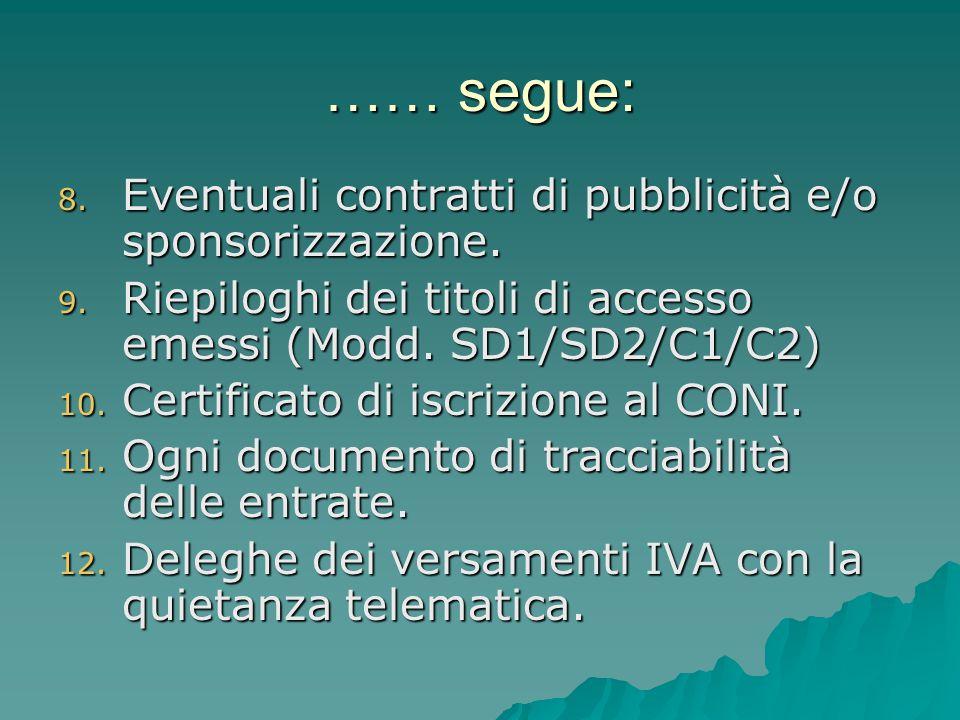 …… segue: 8. Eventuali contratti di pubblicità e/o sponsorizzazione. 9. Riepiloghi dei titoli di accesso emessi (Modd. SD1/SD2/C1/C2) 10. Certificato
