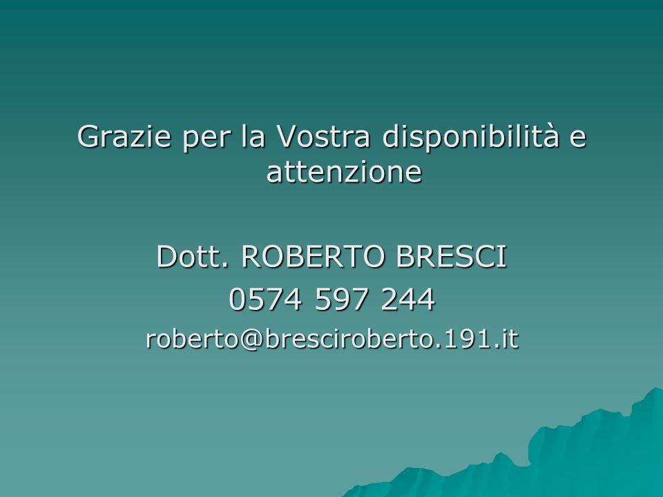 Grazie per la Vostra disponibilità e attenzione Dott. ROBERTO BRESCI 0574 597 244 roberto@bresciroberto.191.it