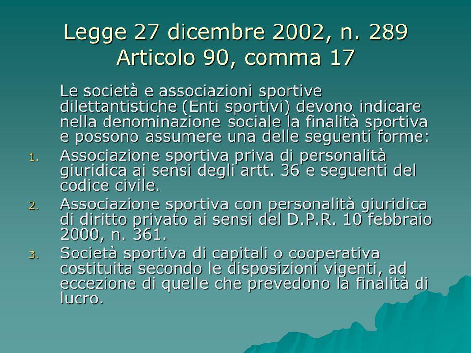 Legge 27 dicembre 2002, n. 289 Articolo 90, comma 17 Le società e associazioni sportive dilettantistiche (Enti sportivi) devono indicare nella denomin