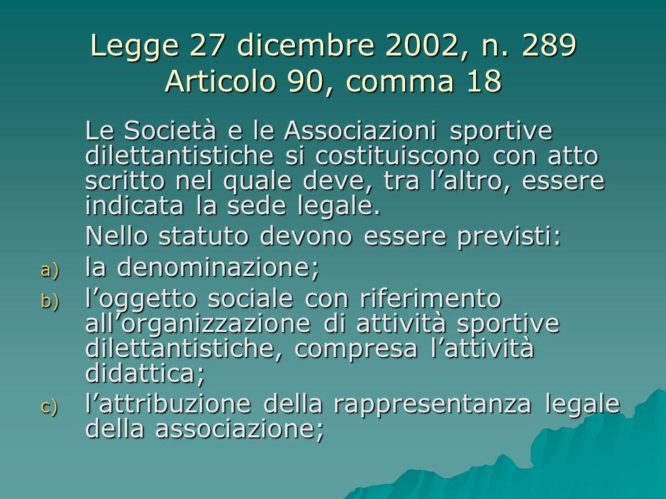 Legge 27 dicembre 2002, n. 289 Articolo 90, comma 18 Le Società e le Associazioni sportive dilettantistiche si costituiscono con atto scritto nel qual