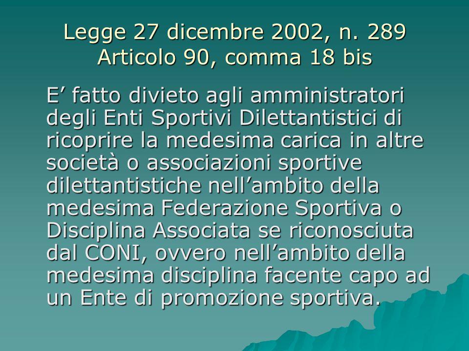 Legge 27 dicembre 2002, n. 289 Articolo 90, comma 18 bis E' fatto divieto agli amministratori degli Enti Sportivi Dilettantistici di ricoprire la mede