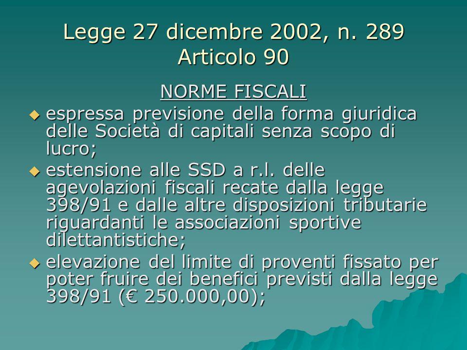 Legge 27 dicembre 2002, n. 289 Articolo 90 NORME FISCALI  espressa previsione della forma giuridica delle Società di capitali senza scopo di lucro; 
