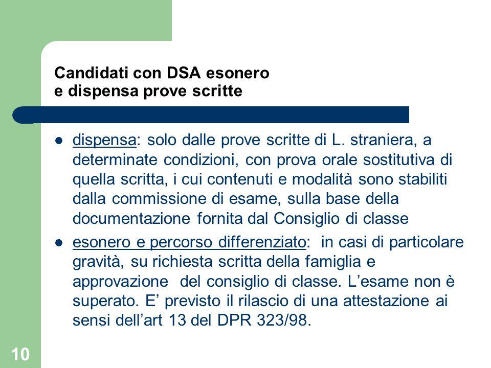 Candidati con DSA esonero e dispensa prove scritte dispensa: solo dalle prove scritte di L. straniera, a determinate condizioni, con prova orale sosti