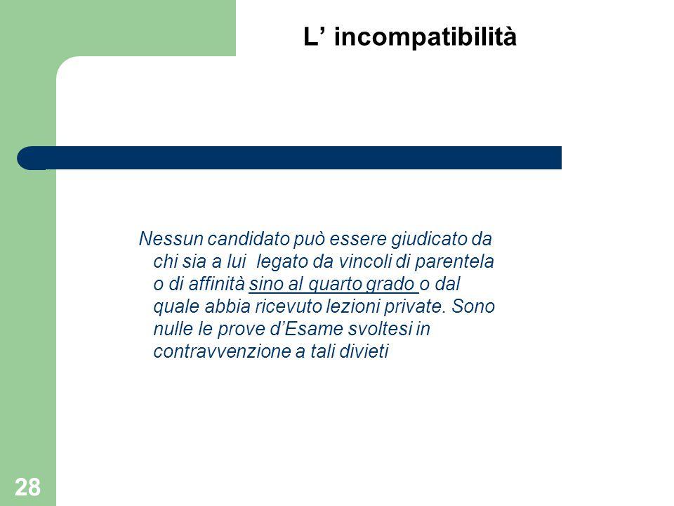 L' incompatibilità Nessun candidato può essere giudicato da chi sia a lui legato da vincoli di parentela o di affinità sino al quarto grado o dal qual