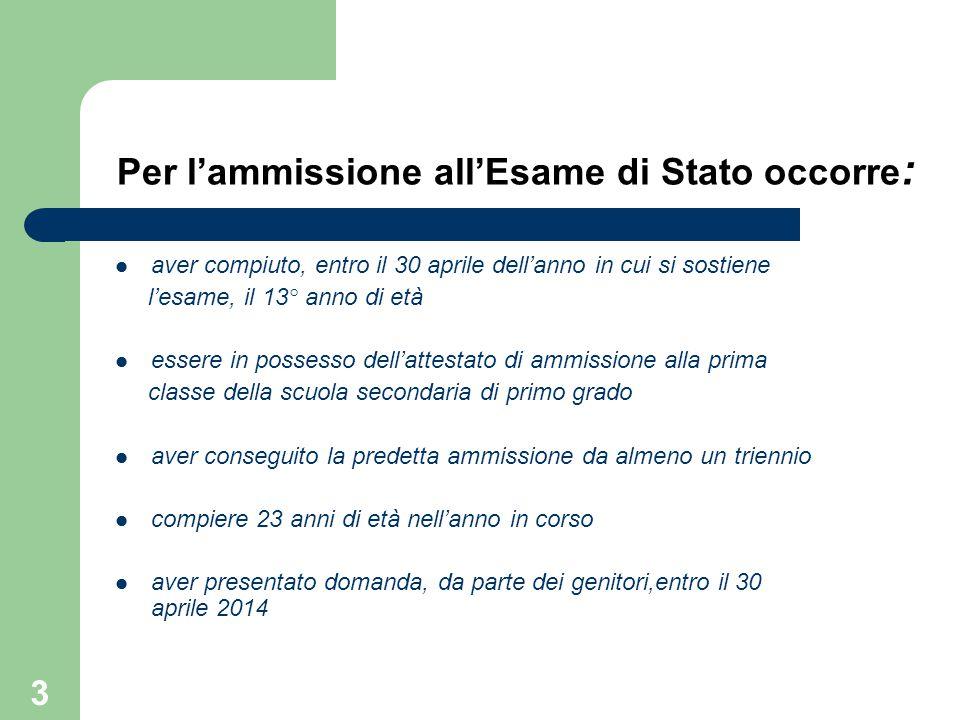 Per l'ammissione all'Esame di Stato occorre : aver compiuto, entro il 30 aprile dell'anno in cui si sostiene l'esame, il 13° anno di età essere in pos