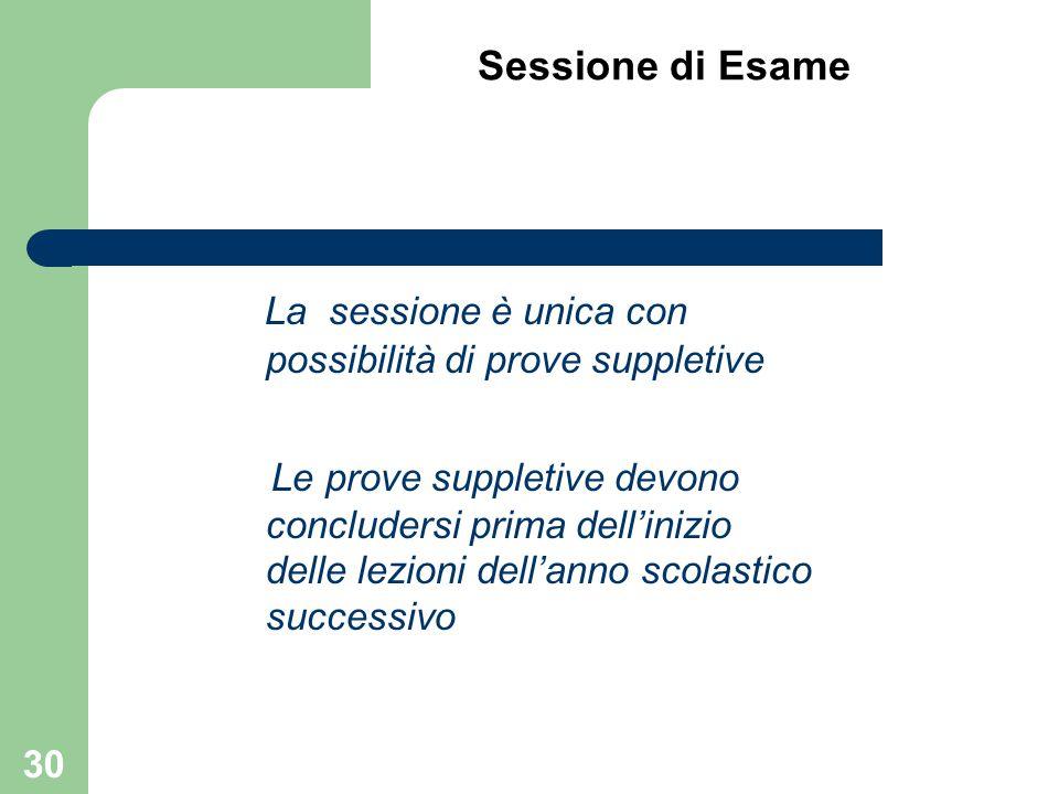 Sessione di Esame La sessione è unica con possibilità di prove suppletive Le prove suppletive devono concludersi prima dell'inizio delle lezioni dell'
