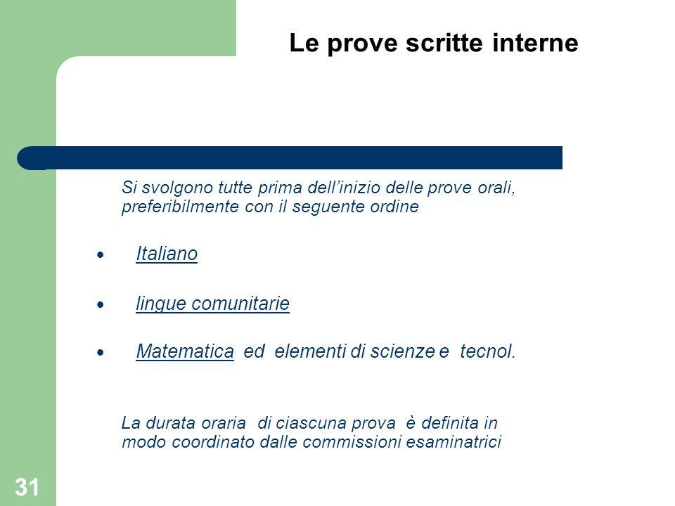Le prove scritte interne Si svolgono tutte prima dell'inizio delle prove orali, preferibilmente con il seguente ordine  Italiano  lingue comunitarie