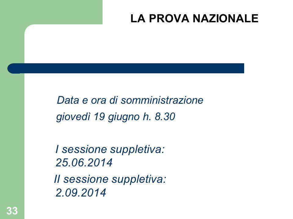 LA PROVA NAZIONALE Data e ora di somministrazione giovedì 19 giugno h. 8.30 I sessione suppletiva: 25.06.2014 II sessione suppletiva: 2.09.2014 33