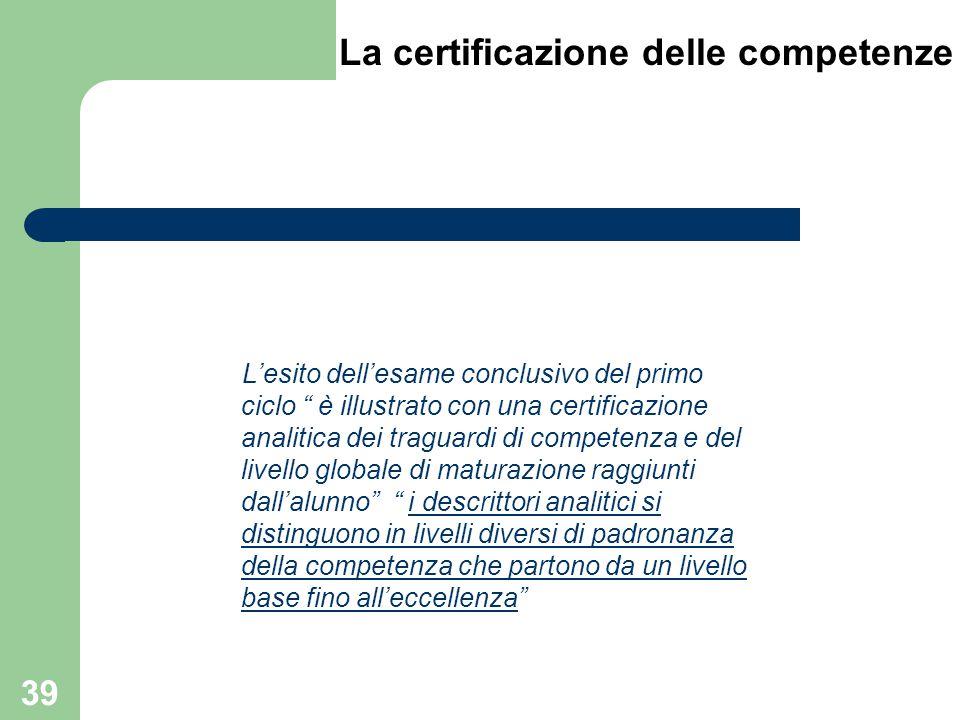 """L'esito dell'esame conclusivo del primo ciclo """" è illustrato con una certificazione analitica dei traguardi di competenza e del livello globale di mat"""