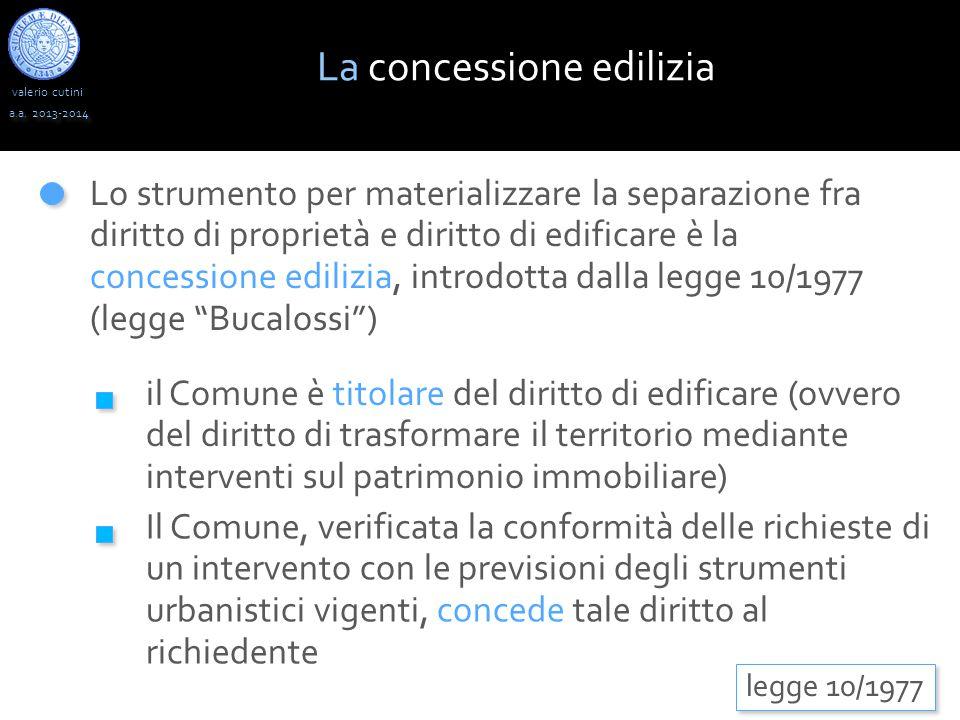 valerio cutini a.a. 2013-2014 Lo strumento per materializzare la separazione fra diritto di proprietà e diritto di edificare è la concessione edilizia