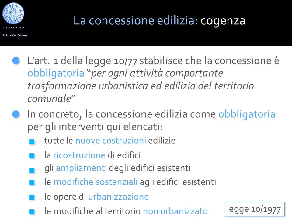 """valerio cutini a.a. 2013-2014 L'art. 1 della legge 10/77 stabilisce che la concessione è obbligatoria """"per ogni attività comportante trasformazione ur"""
