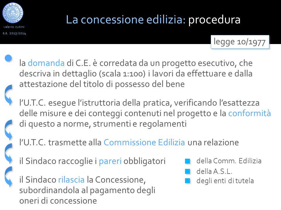 valerio cutini a.a. 2013-2014 La concessione edilizia: procedura legge 10/1977 la domanda di C.E. è corredata da un progetto esecutivo, che descriva i