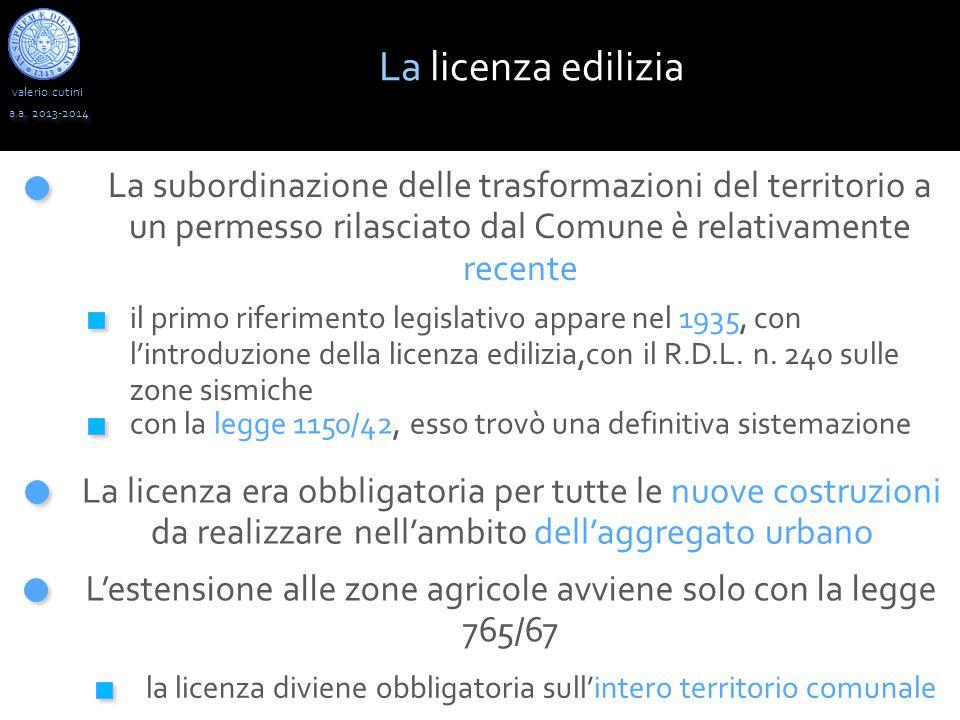 valerio cutini a.a. 2013-2014 La subordinazione delle trasformazioni del territorio a un permesso rilasciato dal Comune è relativamente recente il pri