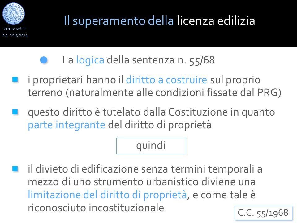 valerio cutini a.a. 2013-2014 La logica della sentenza n. 55/68 i proprietari hanno il diritto a costruire sul proprio terreno (naturalmente alle cond