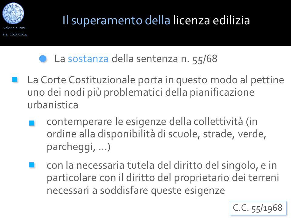 valerio cutini a.a. 2013-2014 La sostanza della sentenza n. 55/68 La Corte Costituzionale porta in questo modo al pettine uno dei nodi più problematic