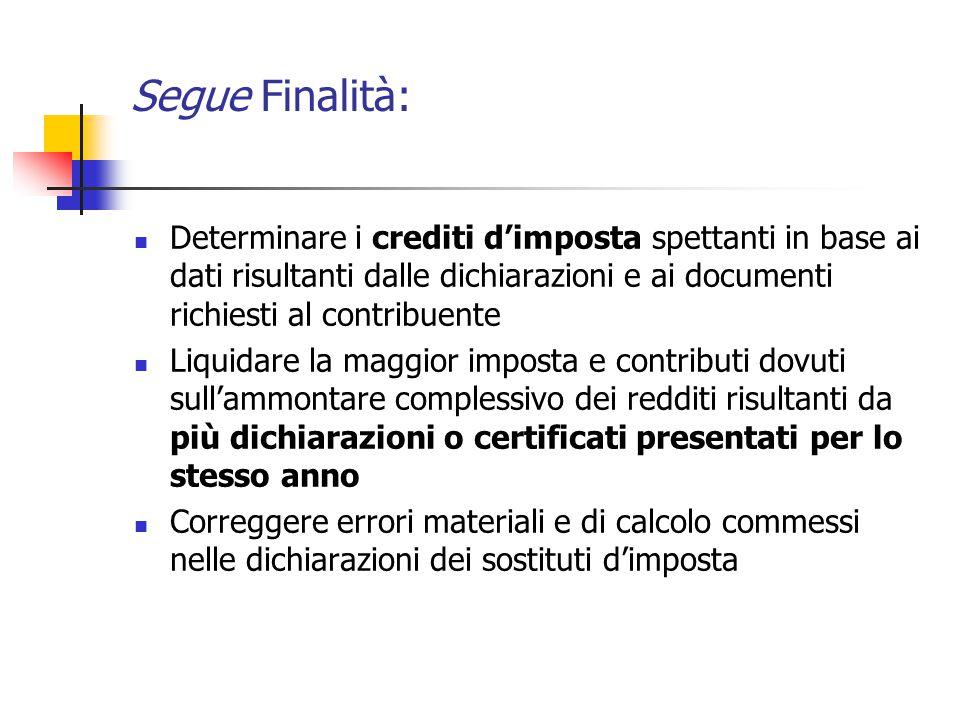 Segue Finalità: Determinare i crediti d'imposta spettanti in base ai dati risultanti dalle dichiarazioni e ai documenti richiesti al contribuente Liqu