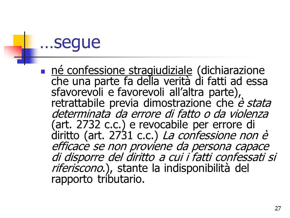 27 …segue né confessione stragiudiziale (dichiarazione che una parte fa della verità di fatti ad essa sfavorevoli e favorevoli all'altra parte), retra