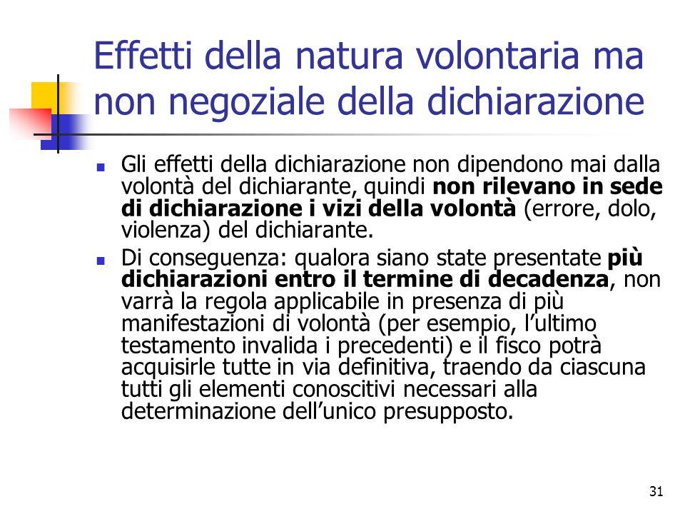 31 Effetti della natura volontaria ma non negoziale della dichiarazione Gli effetti della dichiarazione non dipendono mai dalla volontà del dichiarant