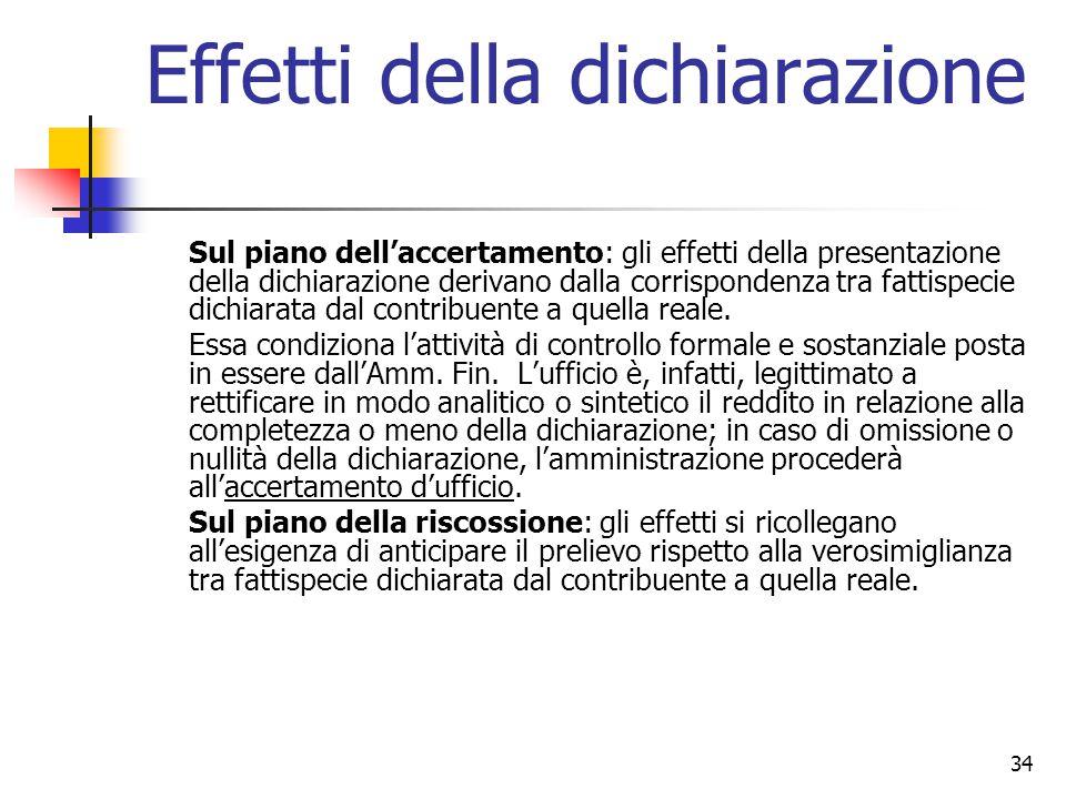 34 Effetti della dichiarazione Sul piano dell'accertamento: gli effetti della presentazione della dichiarazione derivano dalla corrispondenza tra fatt