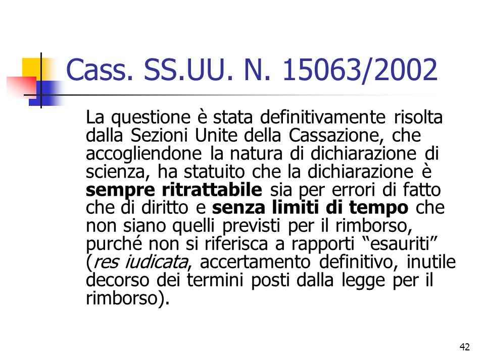 42 Cass. SS.UU. N. 15063/2002 La questione è stata definitivamente risolta dalla Sezioni Unite della Cassazione, che accogliendone la natura di dichia