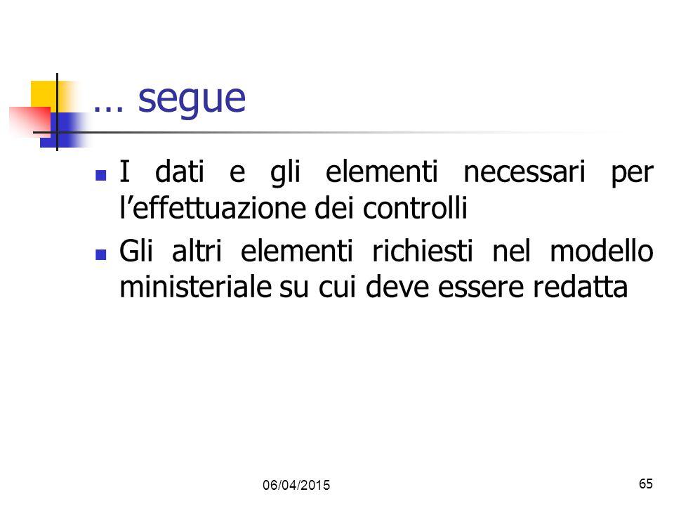 65 … segue I dati e gli elementi necessari per l'effettuazione dei controlli Gli altri elementi richiesti nel modello ministeriale su cui deve essere