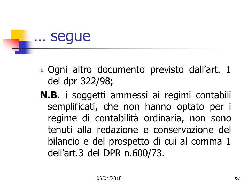 67 … segue  Ogni altro documento previsto dall'art. 1 del dpr 322/98; N.B. i soggetti ammessi ai regimi contabili semplificati, che non hanno optato