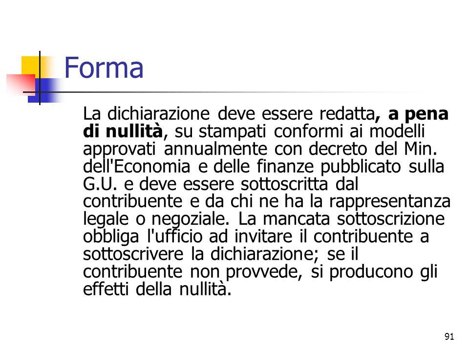 91 Forma La dichiarazione deve essere redatta, a pena di nullità, su stampati conformi ai modelli approvati annualmente con decreto del Min. dell'Econ