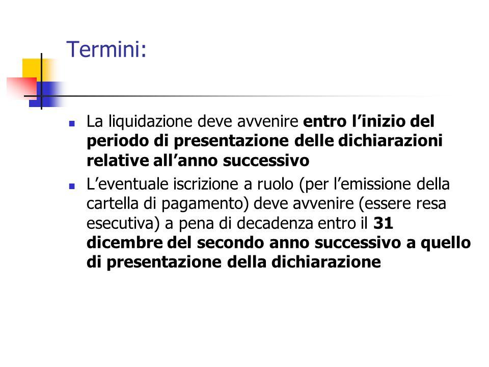 Termini: La liquidazione deve avvenire entro l'inizio del periodo di presentazione delle dichiarazioni relative all'anno successivo L'eventuale iscriz