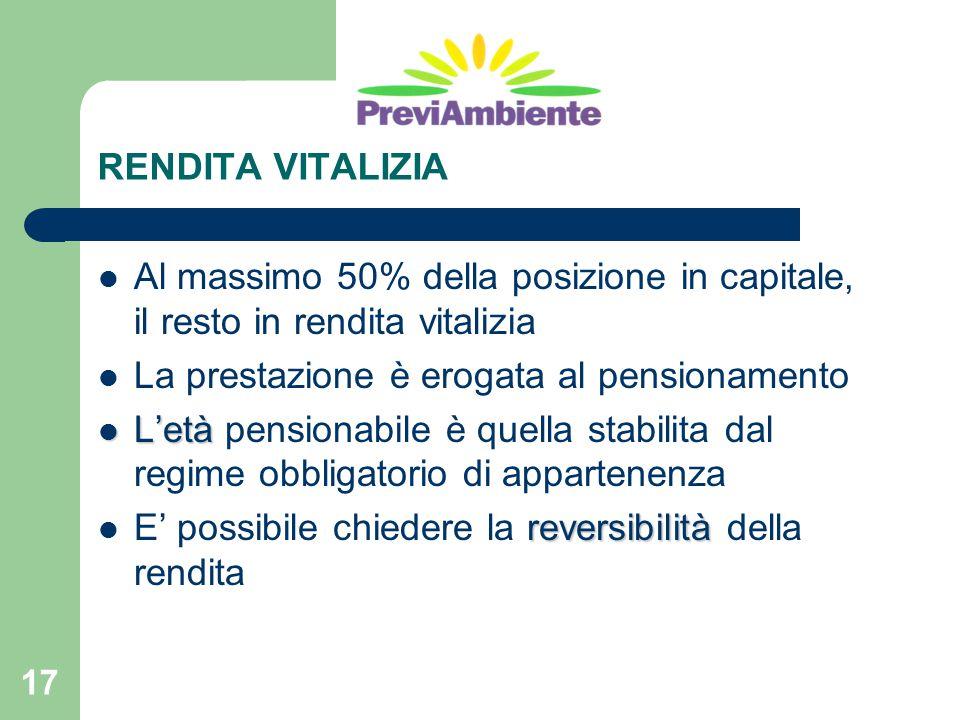 17 RENDITA VITALIZIA Al massimo 50% della posizione in capitale, il resto in rendita vitalizia La prestazione è erogata al pensionamento L'età L'età p