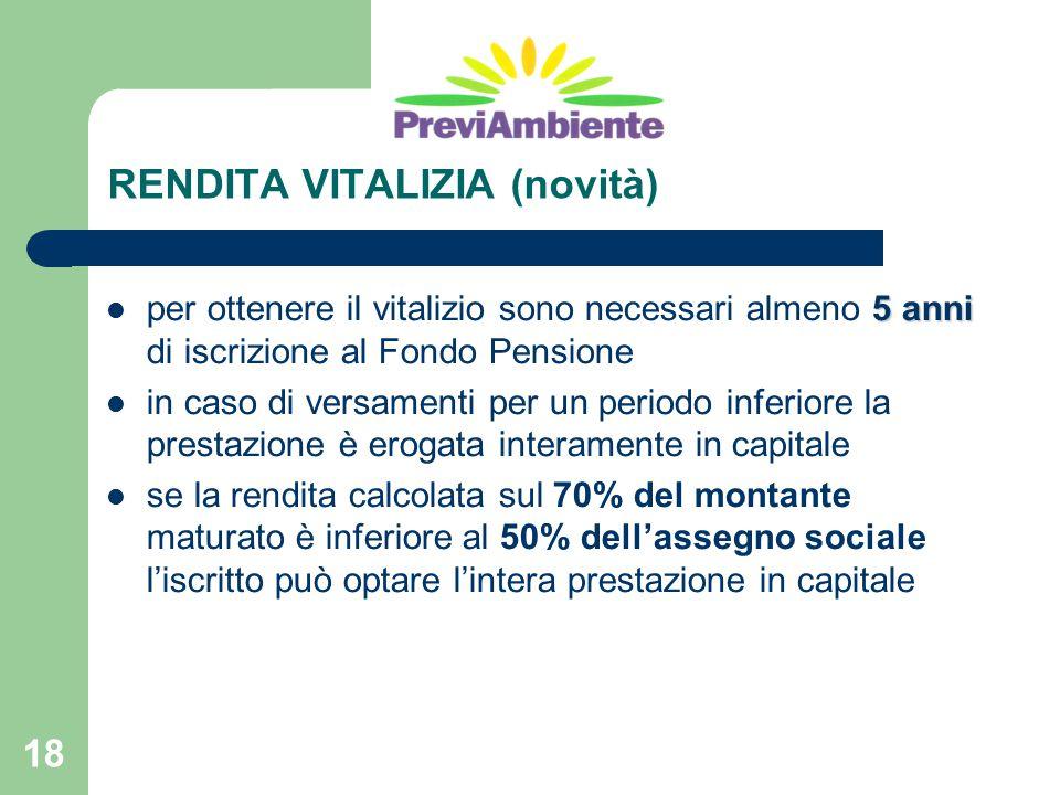 18 RENDITA VITALIZIA (novità) 5 anni per ottenere il vitalizio sono necessari almeno 5 anni di iscrizione al Fondo Pensione in caso di versamenti per