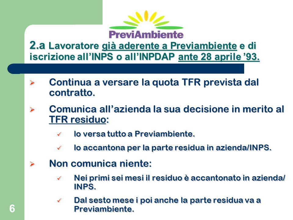 6  Continua a versare la quota TFR prevista dal contratto.  Comunica all'azienda la sua decisione in merito al TFR residuo: lo versa tutto a Previam