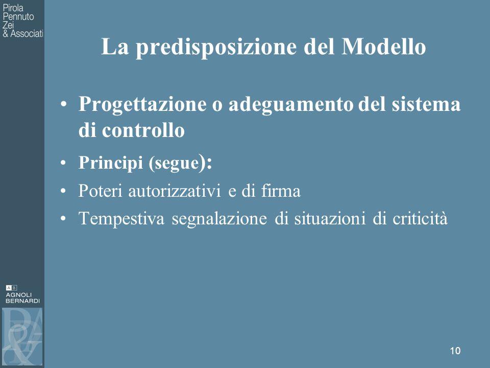 Progettazione o adeguamento del sistema di controllo Principi (segue ): Poteri autorizzativi e di firma Tempestiva segnalazione di situazioni di criticità 10 La predisposizione del Modello