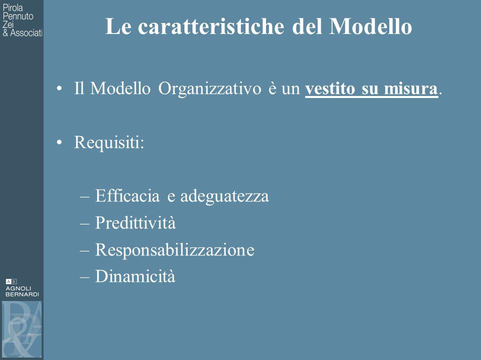 Le caratteristiche del Modello Il Modello Organizzativo è un vestito su misura.