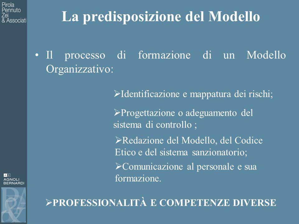 La predisposizione del Modello Il processo di formazione di un Modello Organizzativo:  Identificazione e mappatura dei rischi;  Progettazione o adeguamento del sistema di controllo ;  Redazione del Modello, del Codice Etico e del sistema sanzionatorio;  PROFESSIONALITÀ E COMPETENZE DIVERSE  Comunicazione al personale e sua formazione.