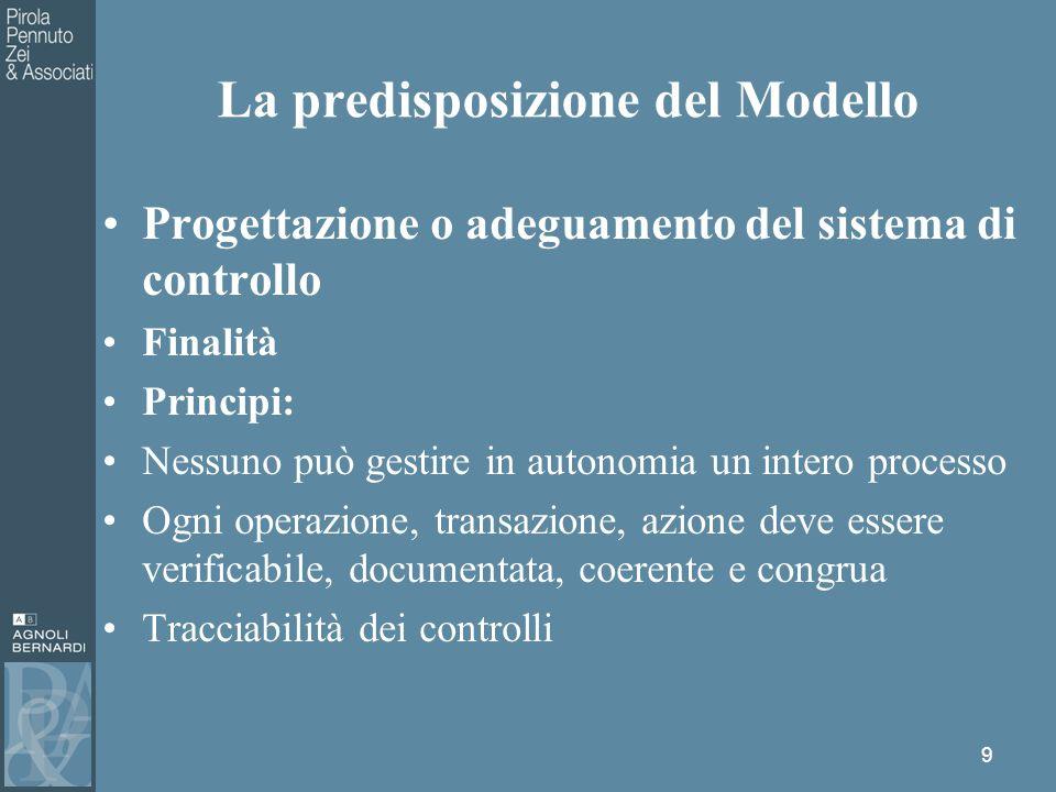 Progettazione o adeguamento del sistema di controllo Finalità Principi: Nessuno può gestire in autonomia un intero processo Ogni operazione, transazione, azione deve essere verificabile, documentata, coerente e congrua Tracciabilità dei controlli 9 La predisposizione del Modello