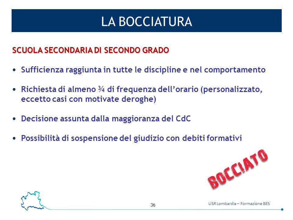 36 USR Lombardia – Formazione BES LA BOCCIATURA SCUOLA SECONDARIA DI SECONDO GRADO Sufficienza raggiunta in tutte le discipline e nel comportamento Ri