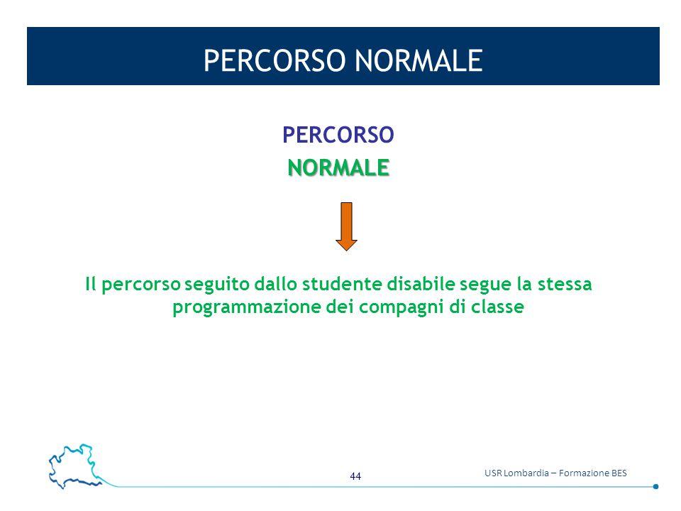 44 USR Lombardia – Formazione BES PERCORSO NORMALE PERCORSONORMALE Il percorso seguito dallo studente disabile segue la stessa programmazione dei comp
