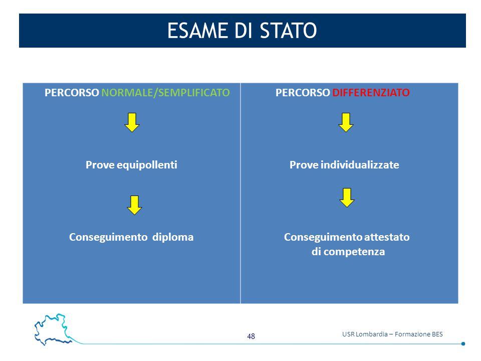 48 USR Lombardia – Formazione BES ESAME DI STATO PERCORSO NORMALE/SEMPLIFICATO Prove equipollenti Conseguimento diploma PERCORSO DIFFERENZIATO Prove i