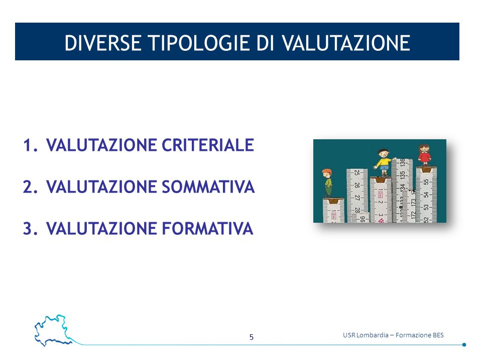 5 USR Lombardia – Formazione BES DIVERSE TIPOLOGIE DI VALUTAZIONE 1.VALUTAZIONE CRITERIALE 2.VALUTAZIONE SOMMATIVA 3.VALUTAZIONE FORMATIVA