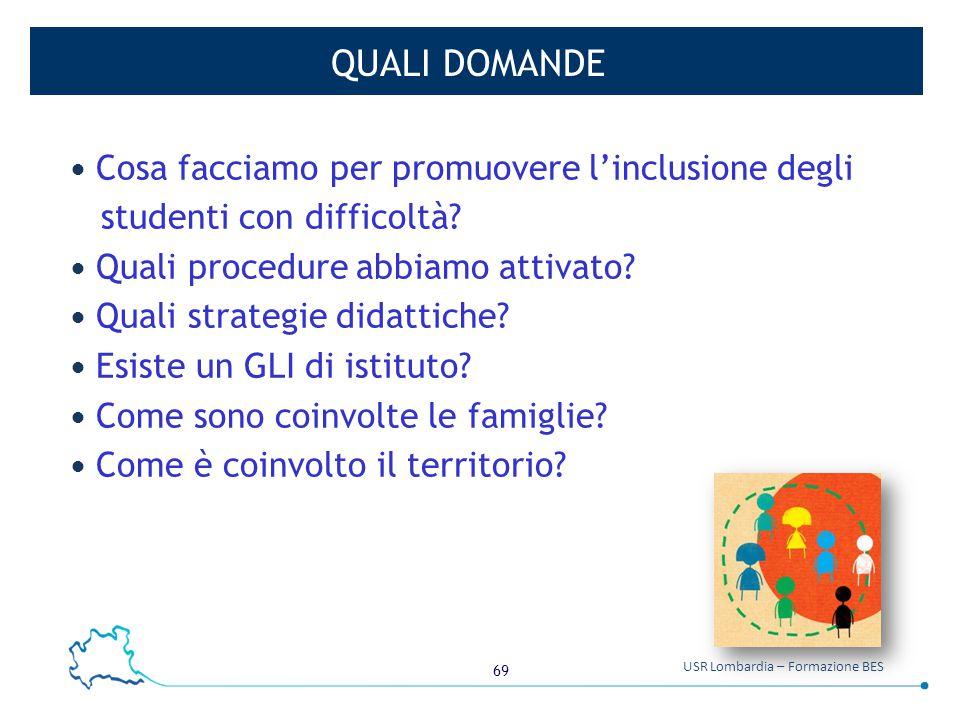 69 USR Lombardia – Formazione BES QUALI DOMANDE Cosa facciamo per promuovere l'inclusione degli studenti con difficoltà? Quali procedure abbiamo attiv