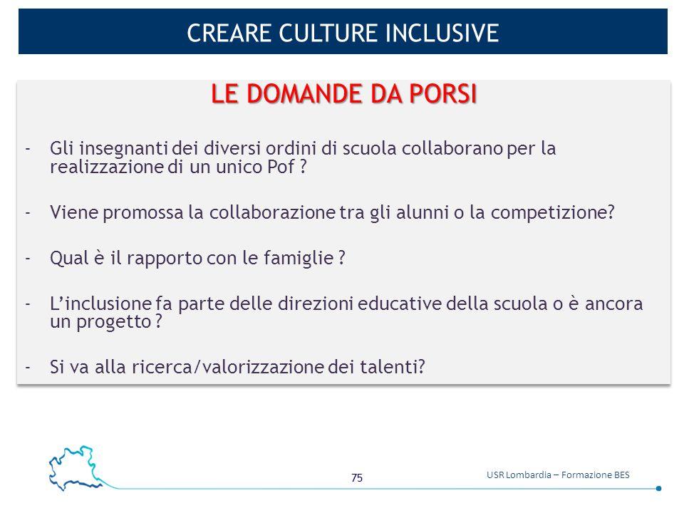 75 USR Lombardia – Formazione BES CREARE CULTURE INCLUSIVE LE DOMANDE DA PORSI -Gli insegnanti dei diversi ordini di scuola collaborano per la realizz