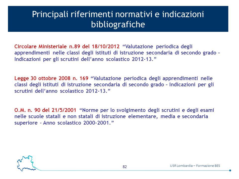 """82 USR Lombardia – Formazione BES Principali riferimenti normativi e indicazioni bibliografiche Circolare Ministeriale n.89 del 18/10/2012 """"Valutazion"""