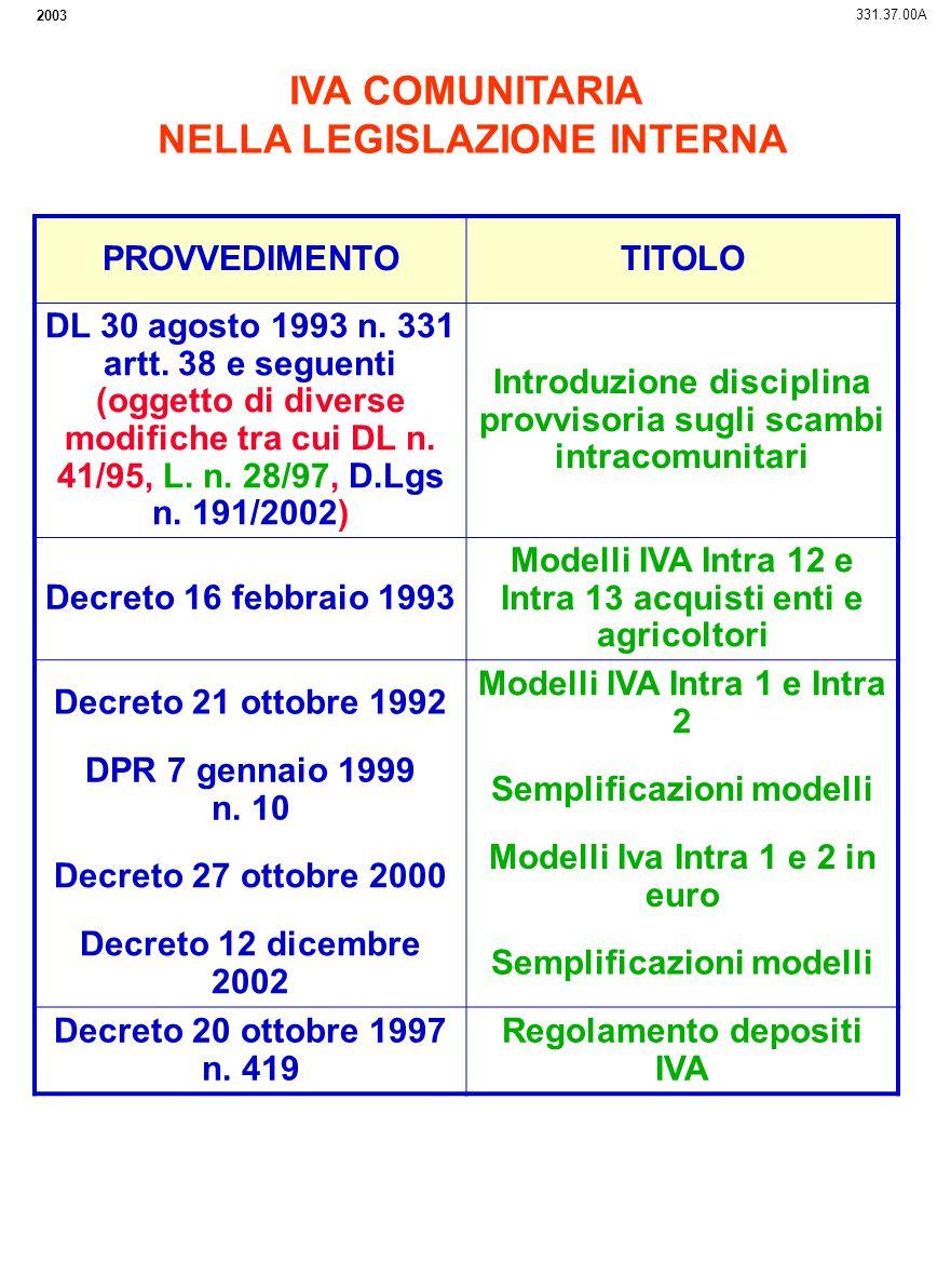 2003 IVA COMUNITARIA NELLA LEGISLAZIONE INTERNA 331.37.00A PROVVEDIMENTOTITOLO DL 30 agosto 1993 n. 331 artt. 38 e seguenti (oggetto di diverse modifi