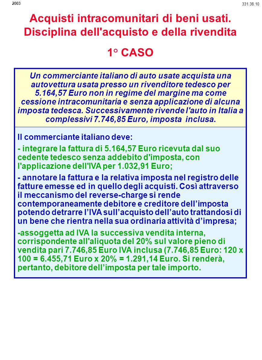 331.38.10 Un commerciante italiano di auto usate acquista una autovettura usata presso un rivenditore tedesco per 5.164,57 Euro non in regime del marg