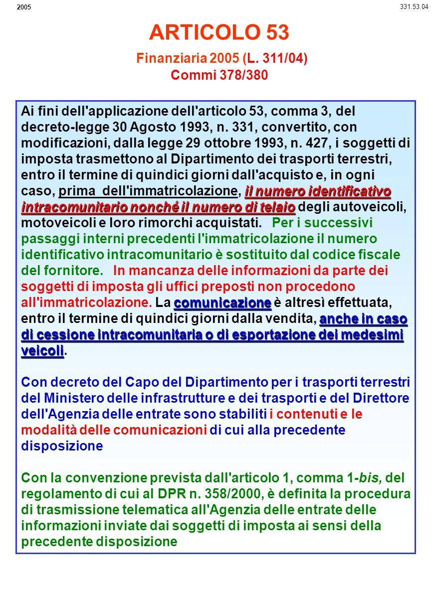 2005 331.53.04 il numero identificativo intracomunitario nonché il numero di telaio comunicazione anche in caso di cessione intracomunitaria o di espo