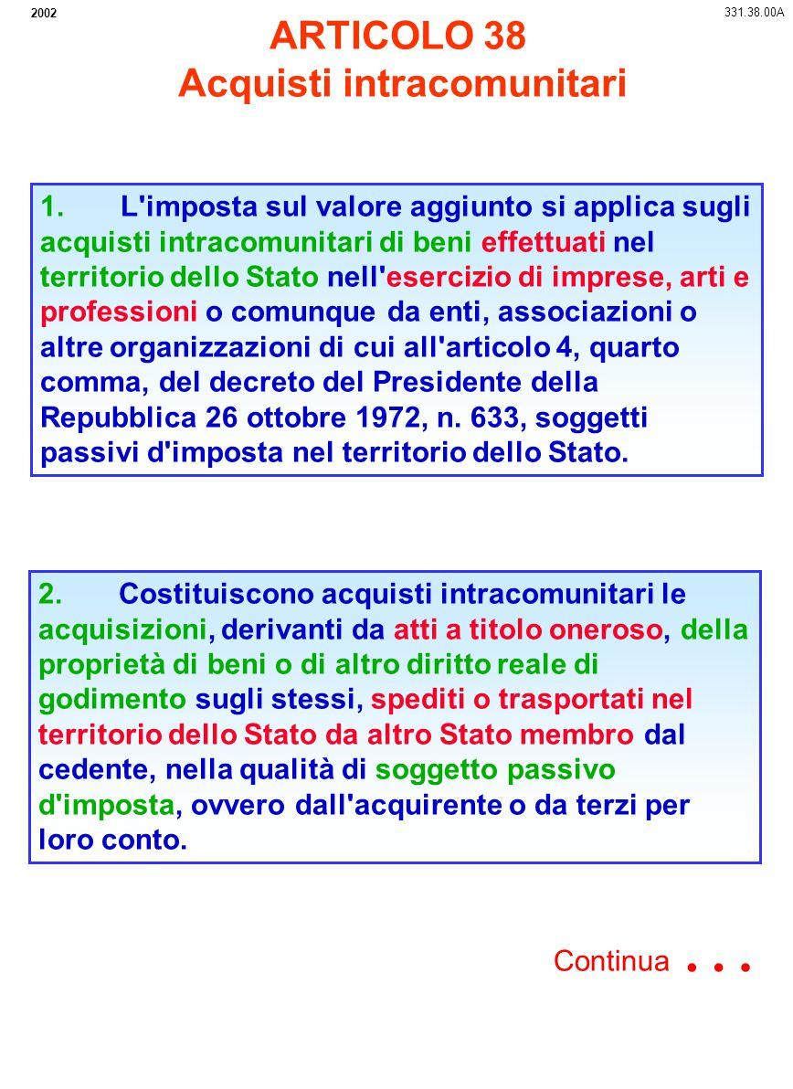 MEZZI DI TRASPORTO NUOVI ART.53 CESSIONI LE VENDITE DI MEZZI DI TRASPORTO NUOVI SONO NON IMPONIBILI IN ITALIA IN QUANTO SOGGETTE AD IVA NEL PAESE DI DESTINAZIONE SE EFFETTUATE DA UN PRIVATO ITALIANO SE EFFETTUATE DA SOGGETTO D IMPOSTA ITALIANO L ACQUIRENTE COMUNITARIO (PRIVATO O SOGGETTO IVA) DEVE VERSARE L IMPOSTA NEL SUO PAESE SECONDO LE REGOLE IVI VIGENTI IL CEDENTE ITALIANO PUO RECUPERARE L IVA PAGATA ALL ACQUISTO O UNA PARTE DI ESSA (MOD.38 RIC) L ATTO DI VENDITA DEVE IDENTIFICARE IL BENE E RIPORTARE NUMERO DI IDENTIFICAZIONE SE CHI ACQUISTA E UN SOGGETTO D IMPOSTA COMUNITARIO IL CEDENTE ITALIANO EMETTE FATTURA NON IMPONIBILE CON IDENTIFICAZIONE DEL BENE SE ACQUISTA PRIVATO LA FATTURA DI VENDITA NON VA REGISTRATA SE ACQUISTA SOGGETTO PASSIVO D IMPOSTA LA FATTURA DI VENDITA VA REGISTRATA COMMA 1 331.53.02