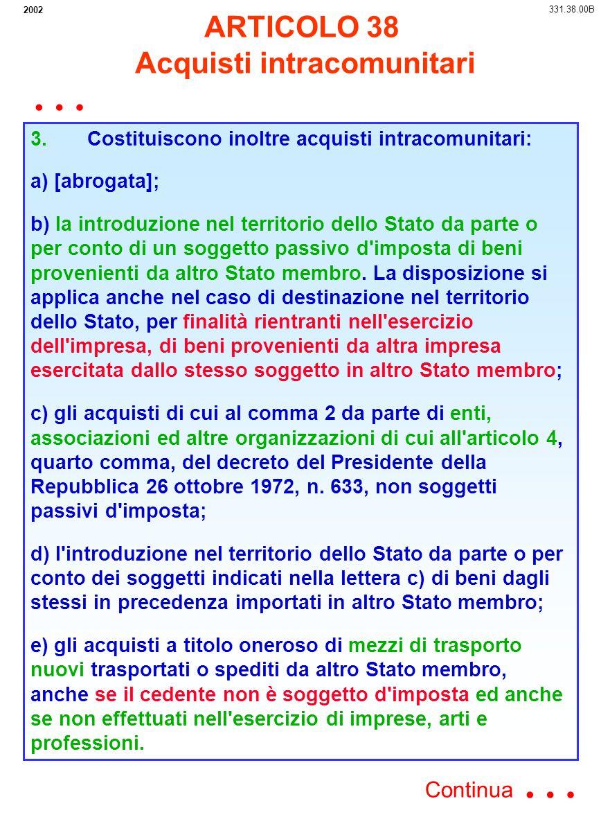 2002 3. Costituiscono inoltre acquisti intracomunitari: a) [abrogata]; b) la introduzione nel territorio dello Stato da parte o per conto di un sogget