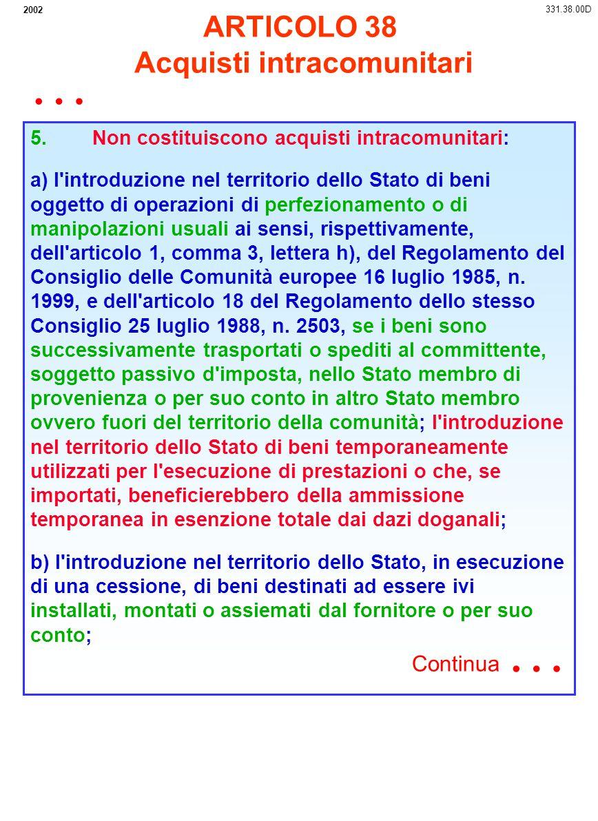2002 5. Non costituiscono acquisti intracomunitari: a) l'introduzione nel territorio dello Stato di beni oggetto di operazioni di perfezionamento o di