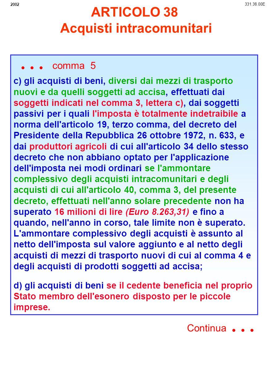2002 c) gli acquisti di beni, diversi dai mezzi di trasporto nuovi e da quelli soggetti ad accisa, effettuati dai soggetti indicati nel comma 3, lette